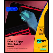 avery clear label index maker dividers white 5 tab 5pack