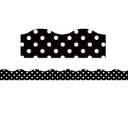 "Teacher Created Resource (TCR77338) 16.125"" x 1.375"", Clingy Thingies® Polka Dots Scalloped Borders, Black"