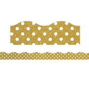 "Teacher Created Resource (TCR77343) 16.125"" x 1.375"", Clingy Thingies® Shimmer with White Polka Dots Borders, Gold"