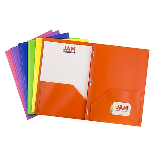 JAM Paper® Plastic Two-Pocket School POP Folders with Metal Fastener Clasps, Assorted Primary Colors, 6/Pack (382ECbgypofu)