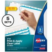Avery IndexMaker Print & Apply 5 Tab Dividers, Clear, 5/Pack (11436)