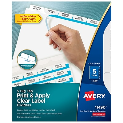 Avery Big Tab Print & Apply Clear Label Dividers, Index Maker Easy Apply Printable Label Strip, 5 White Tabs (11490)