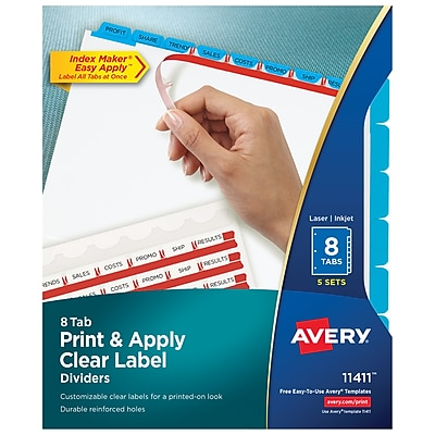 Avery Print & Apply Clear Label Dividers, Index Maker Easy Apply Printable Label Strip, 8 Blue Tabs, 5 Sets (11411)