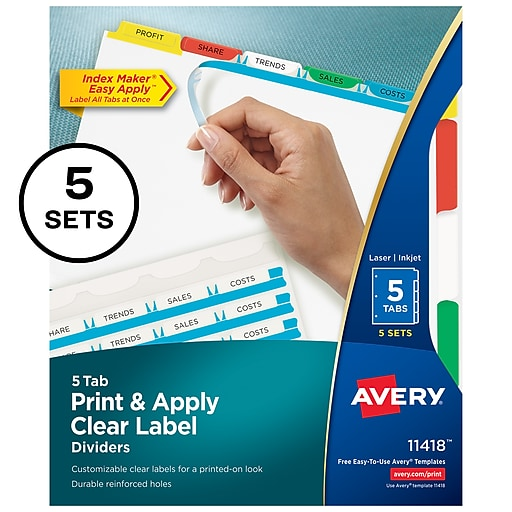 Avery Print & Apply Clear Label Dividers, Index Maker Easy Apply Printable  Label Strip, 5 Multicolor Tabs, 5 Sets (11418)