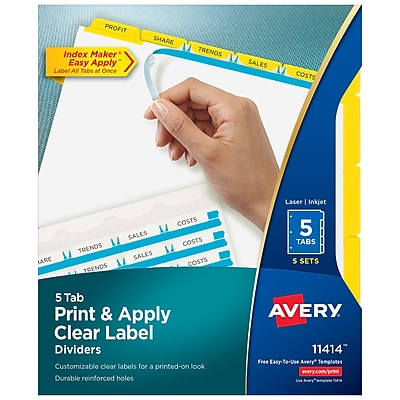 Avery Print & Apply Clear Label Dividers, Index Maker Easy Apply Printable Label Strip, 5 Yellow Tabs, 5 Sets (11414)