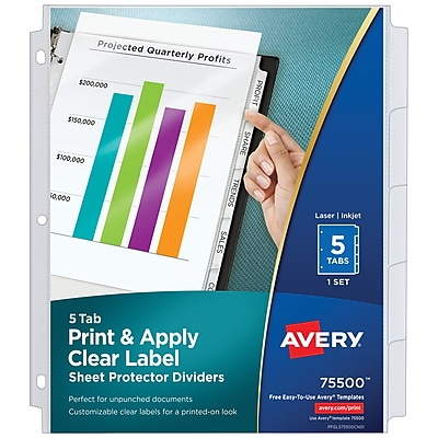 Avery Print & Apply Clear Label Sheet Protector Dividers, Index Maker Easy Peel Printable Labels, 5 White Tabs (75500)