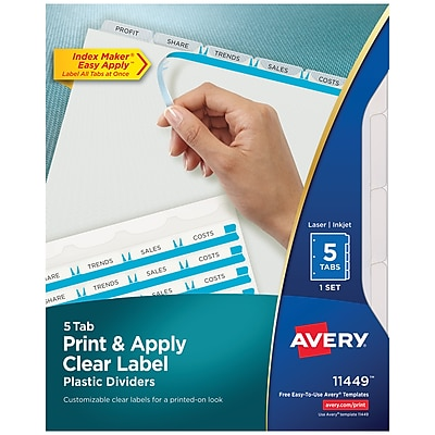Avery Print & Apply Clear Label Translucent Plastic Dividers, Index Maker, 5 Frosted Tabs (11449)