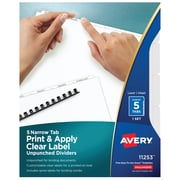 Avery Print & Apply Clear Label Narrow Tab Unpunched Dividers, Index Maker Easy Peel Labels, 5 White Tabs (11253)