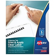 Avery Print & Apply Blank Tab Dividers, 5-Tab, White, Set (11253)
