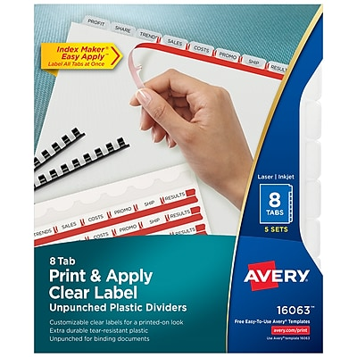 Avery Print & Apply Clear Label Unpunched Translucent Plastic Dividers, Index Maker, 8 Frosted Tabs, 5 Sets (16063)
