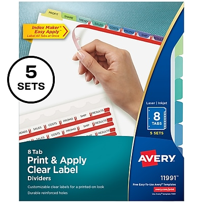 Avery Print & Apply Clear Label Dividers, Index Maker Easy Apply Printable Label Strip, 8 Pastel Tabs, 5 Sets (11991)