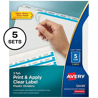 Avery Print & Apply Plastic 5 Tab Dividers, Clear, 5/Pack (12449)