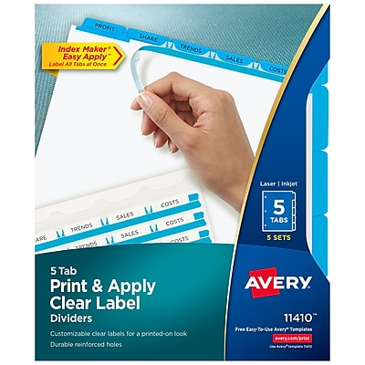 Avery Print & Apply Clear Label Dividers, Index Maker Easy Apply Printable Label Strip, 5 Blue Tabs, 5 Sets (11410)
