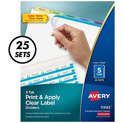 Avery Print & Apply Clear Label Dividers, Index Maker Easy Apply Printable Label Strip, 5 Pastel Tabs, 25 Sets (11992)