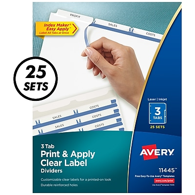 Avery® Index Maker Label Dividers, 3-Tab, Clear, 25/Box (11445)