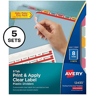 Avery Print & Apply Clear Label Translucent Plastic Dividers, Index Maker, 8 Multicolor Tabs, 5 Sets (12433)