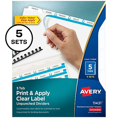 Avery® Index Maker Clear Label Laser and Inkjet Dividers, Unpunched, 5-Tab, White, 5 Sets/Box (11431)