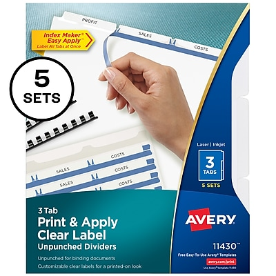 Avery Print & Apply Clear Label Unpunched Dividers, Index Maker Easy Apply Printable Label Strip, 3 White Tabs, 5 Sets (11430)