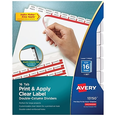 Avery Print & Apply Clear Label Double-Column Dividers, Index Maker Easy Apply Printable Label Strip, 16 White Tabs (13150)
