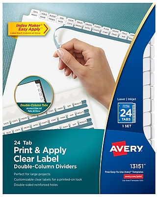 Avery Print & Apply Clear Label Double-Column Dividers, Index Maker Easy Apply Printable Label Strip, 24 White Tabs (13151)