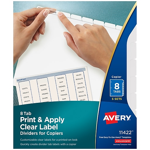 avery index maker white dividers with clear tab labels for copiers