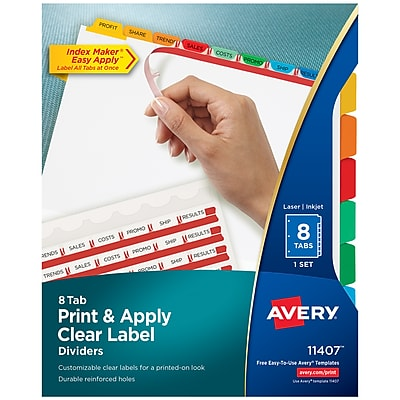 Avery Print & Apply Clear Label Dividers, Index Maker Easy Apply Printable Label Strip, 8 Multicolor Tabs (11407)