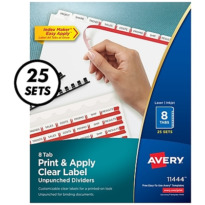 Avery Index Maker Unpunched 8-Tab Dividers, 8 1/2