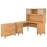 Bush Furniture Somerset 60W L Shaped Desk with Hutch and Lateral File Cabinet, Maple Cross (SET008MC)