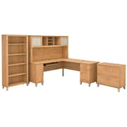 Bush Furniture Somerset 72W L Shaped Desk with Hutch, Lateral File Cabinet and Bookcase, Maple Cross (SET012MC)