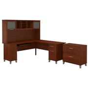 Bush Furniture Somerset 72W L Shaped Desk with Hutch and Lateral File Cabinet, Hansen Cherry (SET009HC)