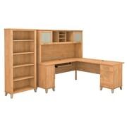 Bush Furniture Somerset 72W L Shaped Desk with Hutch and 5 Shelf Bookcase, Maple Cross (SET011MC)