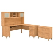Bush Furniture Somerset 72W L Shaped Desk with Hutch and Lateral File Cabinet, Maple Cross (SET009MC)