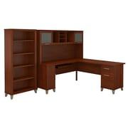 Bush Furniture Somerset 72W L Shaped Desk with Hutch and 5 Shelf Bookcase, Hansen Cherry (SET011HC)