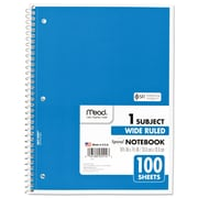 Mead® Spiral® Notebook, 1 Subject, Wide Ruled, Assorted Colors (MEA05514)