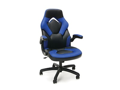 OFM Essentials High-Back Faux Leather Racing Gaming Chair, Blue (ESS-3085-BLU)