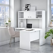 Office by kathy ireland® Echo L Shaped Desk with Hutch, Pure White (ECH031PW)