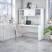 Office by kathy ireland® Echo 60W Credenza Desk with Hutch, Pure White (ECH030PW)