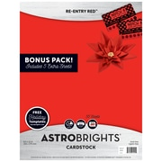 "Astrobrights Colored Cardstock Holiday Edition, 8.5"" x 11"", 65 lb/176 gsm, Re-Entry Red, 55 Sheets (91401)"