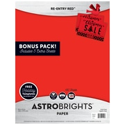 "Astrobrights Holiday Edition Color Paper, 24 lb/89 gsm, 8.5"" x 11"", Re-Entry Red, 130 Sheets (91400)"