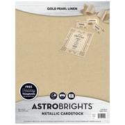 "Astrobrights Colored Cardstock Holiday Edition, 8.5"" x 11"", 70 lb/189 gsm, Metallic, Gold Pearl Linen, 25 Sheets (91409)"