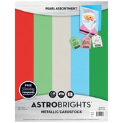 "Astrobrights Colored Cardstock Holiday Edition, 8.5"" x 11"", 65 lb/176 gsm, Metallic, Pearl Assortment, 25 Sheets (91408)"
