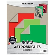 "Astrobrights Colored Cardstock Holiday Edition, 8.5"" x 11"", 75 lb/203 gsm, Kraft Double-Color Assortment, 24 Sheets (91406)"