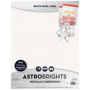 "Astrobrights Colored Cardstock Holiday Edition, 8.5"" x 11"", 70 lb/189 gsm, Metallic, White Pearl Linen, 25 Sheets (91407)"