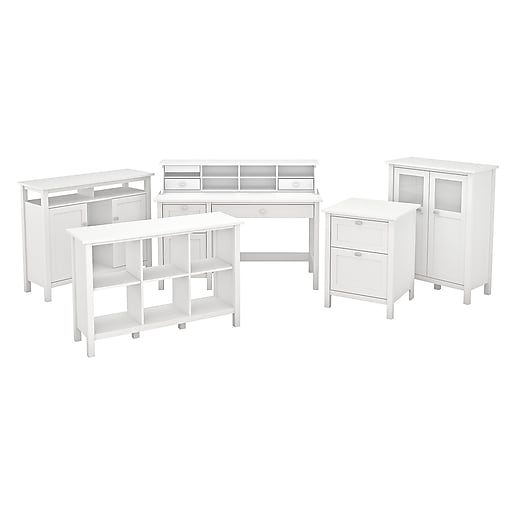 Bush Furniture Broadview Computer Desk with Drawers, Console Table, Bar  Cabinet and Storage, Pure White (BD017WH)