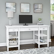 Bush Furniture Broadview 60W Desk with Storage Shelves and Drawers, Pure White (BDD160WH-03)