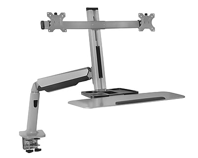 Mount-It! Sit Stand Desk Mount Workstation, Dual Monitor Standing Desk Converter, Full Motion Arm, Height Adjustable (MI-7904)