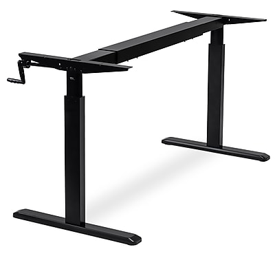 Mount-It! Manual Crank Standing Desk Frame, Height Adjustable Sit-Stand, Stand-Up Workstation, FRAME ONLY, BLACK (MI-7931)