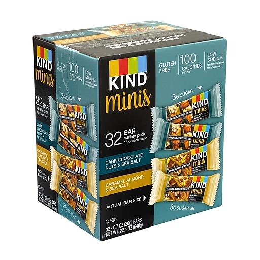 KIND Minis Dark Chocolate Nuts & Sea Salt and Caramel Almond & Sea Salt Variety, 0.7 oz, 32 Count (220-00799)