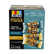 KIND Minis Dark Chocolate Nuts & Sea Salt and Caramel Almond & Sea Salt Variety, 0.7 oz, 32 Count (220-00799)