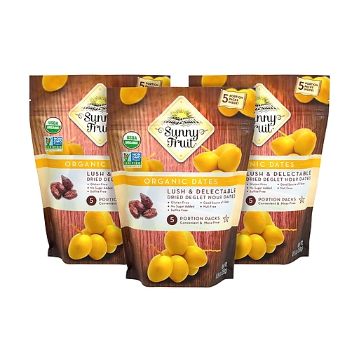 Sunny Fruit Organic Dried Pitted Dates, 8.8 oz., 3/Pack (220-00807)